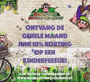 Monkey Town Kinderfeestkorting juni 2017